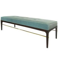 Brass Rodded Bench in the Manner of Edward Wormley, circa 1950s