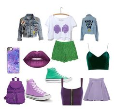Ariel by dany-bear on Polyvore featuring polyvore moda style WearAll Alice + Olivia Miu Miu Dolce&Gabbana Converse Kipling Casetify Lime Crime fashion clothing