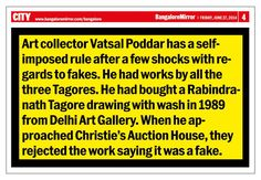 Rabindranath Tagore sold by Ashish Anand & Delhi Art Gallery found to be FAKE by Christies - Bangalore Mirror, 27th June 2014