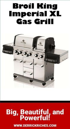 Broil King Imperial XL Gas Grill Review - Two cooking areas, a full rotisserie system, lights and a side burner, the Broil King Imperial XL Gas Grill is huge and able to cook almost anything. via @derrickriches