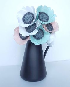White pink and mint beauty..  My new pastel felt anemones were just listed  Link in bio
