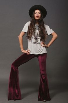 URBAN PEOPLE Bohemian Burgundy Velvet Hippie Flare/Bell Bottom Pants 831 S #Urbanpeopleclothing #CasualPants