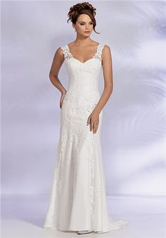 Shown in Diamond White…Soft fluted gown of Guipure lace and tulle. Sheer lace shoulders. Low V-back with buttons and loops over zipper. Chapel train. Available with a lace-up or zipper back. Silhouette: Mermaid Neckline: Sweetheart Gown Length: Floor Fabric: Lace Special Features: Plus Size Available Color: Ivory Size: 0 - 34 Price: $$