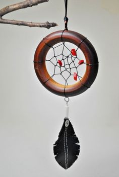 Upcycled Mini Dreamcatchers #Beads, #Dreamcatcher, #Leather, #SpiritfireDesigns, #Sustainable, #Upcycled, #Wood