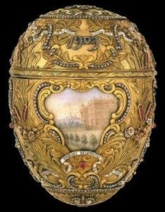 Faberge eggs represents a decadent and imperial Russia from another time. Faberge is legendary for his jewel encrusted eggs but he started out as a jeweler and also created tableware. Faberge was officially named the Russian court's goldsmith. The Faberge eggs come from a russian tradition of giving easter eggs.