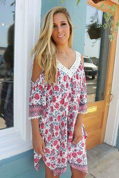 The Elizabeth Open Shoulder Lace Floral Print Shift Dress