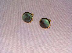 Norwegian Red-andGreen Jasper natural stone stud earrings. 10 mm diameter. Brass gold plated. Nickel free. by Grindingstone on Etsy