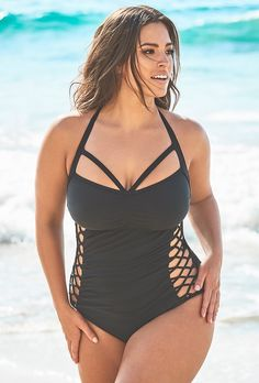 Plus Size Ashley Graham x Swimsuits For All Boss Black Cut Out Underwire One Piece Swimsuit Plus Size Bikini Bottoms, Women's Plus Size Swimwear, Curvy Swimwear, Trendy Swimwear, Swim Suit Plus Size, Swimwear Brands, Bikini Sets, The Bikini, Daily Bikini