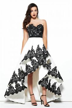 Lovely Illusion Neckline High Low White And Black Taffeta Lace Prom Dress