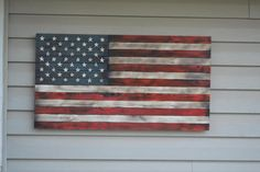 Rustic American Flag Red White And Blue Wooden USA
