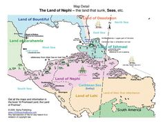 The Book of Mormon geography geography map, DNA, lands Zarahemla, Cumorah, narrow neck, Mexico, Caribbean sea, American Indians, and true evidence.