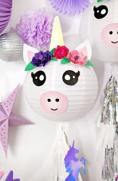 These DIY Unicorn Paper Lanterns make magical party decorations or cute additions to any unicorn themed bedroom or event! Free Printables!  #unicorns #unicornparty #unicornpartydecorations #unicorndiy #papercrafts #partydecor