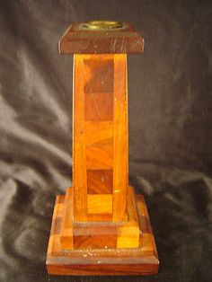 wooden candle holder hand made mission style single tall candle dining table