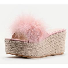 Faux Fur Embellished Woven Wedge Sandals (£36) ❤ liked on Polyvore featuring shoes, sandals, faux fur shoes, embellished shoes, decorating shoes, faux fur sandals and woven wedge sandals