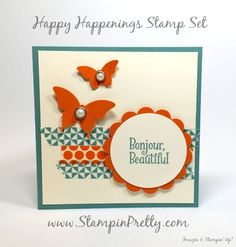 "Butterflies & Happy Happenings for PPA261 - http://stampinpretty.com/2015/07/butterflies-happy-happenings-for-ppa.html  Happy Happenings stamp set and washi tape combine for a sweet 4 1/4"" square card.  More details & Stampin' Up! card ideas on my Stampin' Pretty blog, http://stampinpretty.com.  Mary Fish, Independent StampinUp Demonstrator."