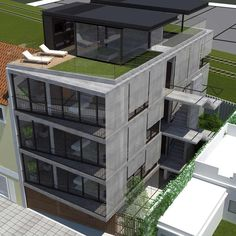 Image 20 of 20 from gallery of / Render Balcony Grill Design, Residential Building Design, Modular Housing, Modern Exterior House Designs, Townhouse Designs, Facade House, Architecture Plan, Planer, Gallery