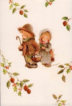 Sarah Kay, Vintage Christmas Cards, Big Eyes, Rooster, Decoupage, Teddy Bear, Dolls, Pretty, Artist