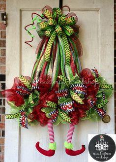 Christmas wreath elf wreath with legs deco by MrsChristmasWorkshop