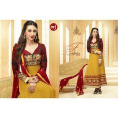 Karishma Kapoor Mustard and Maroon Colour Georgette Anarkali Salwar Kameez By fabfiza