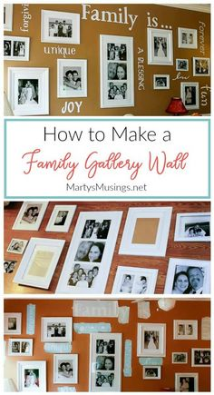 Complete tutorial on how to make a gallery wall with family photos with everything you need to know from layout to choosing frames, pictures and words. via Musings Diy Wall Decor, Diy Home Decor, Diy Decoration, Art Decor, Galley Wall, Gallery Wall Layout, White Spray Paint, Diy Letters, Home Decor Pictures