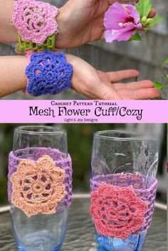 Quick Easy Beginner Crochet Patterns, Easy Crochet Projects, Crochet Flower Patterns, Crochet For Beginners, Crochet Designs, Crochet Flowers, Crochet Cup Cozy, Crochet Mittens, Free Crochet