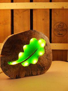 Groen blad lamp eikenblad houtschijf epoxy led lamp