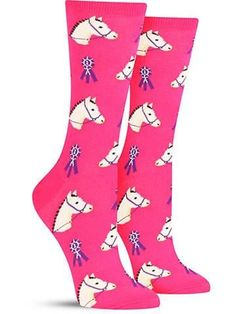 Go ahead and put a big wreath of roses around your neck when you pull these cute animal socks on, because you're clearly a winner! These fun horse socks feature first-place ribbons to show off your st