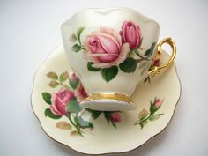 Royal Albert English Beauty Tea Cup and Saucer, Yellow with Pink Roses tea cup and saucer set, English Bone China. by BeadsbyVince on Etsy