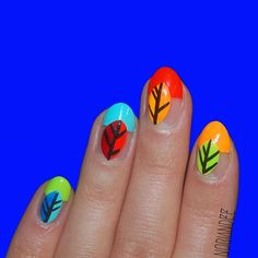 Simple, bright, and colorful leaf nails for Fall #flossgloss #colorclub