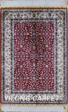 Turkish carpet silk rug Tabriz rugs Red hereke area rugs Materials: Silk Technology: Hand Knotted Size: 2'x3' (61x91cm)-14'x20' (427x610cm) Color: Blue, Yellow, Pink, Beige, Light and green.  Design: Flower, Birds, Tree of life, horse, Medallion, four season, Last Supper and hunting Fit for: bedroom, living room, study room, kitchen, dining area, hallway, gallery, corridor, porch, office etc. … alice@yilongcarpet.com  WhatsApp: +86 15638927921  www.yilongcarpet.com
