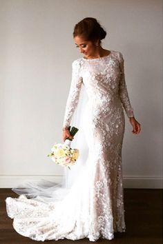 embelished and appliqued couture long sleeve wedding dress - brides of adelaide