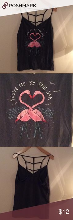 Flamingo Detail Cami Top Cami top with flamingo design on the front and web racer back Aeropostale Tops Camisoles