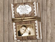 Save the Date Anouncement  ,Rustic, Wood and Lace, Digital file, Printable on Etsy, $15.00