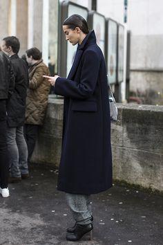 Navy coat model street style fashion km