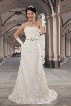ファッションシース/コラム床長さコートトレインレースウェディングドレス