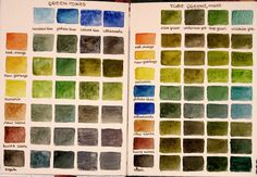 watercolor mixing chart - greens #watercolor, #chart, #green