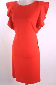Sheath Dress, Peplum Dress, Halston Heritage Dress, Flutter Sleeve, High Neck Dress, Sleeves, Red, Dresses, Fashion