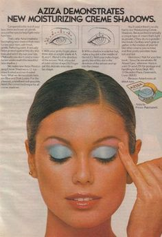 70's makeup- Bright blue eyeshadow, and other pastel shades for shadow, paler lip colors and thinner brows are in.