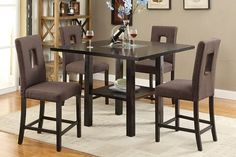 5 PC Poundex Counter Height Table Set with Brown Key-Hole Chairs F2310