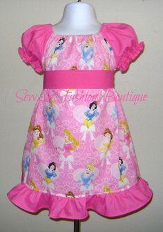 Custom Boutique Princess Ruffle Peasant Dress made out of Disney Princess Fabric 3 6 9 12 18 month 2T 3T 4T 5 6 7yr. $35.00, via Etsy.