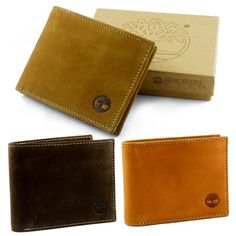 Timberland Wallet 100% Leather Mens Bifold Passcase Organic Cotton Lining New! $26.95 - $27.99
