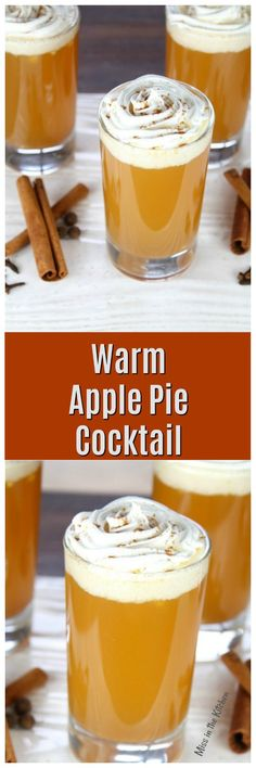 Warm Apple Pie Cocktail Recipe ~ perfect for fall parties and holiday gatherings! From MissintheKitchen.com #applecider #cocktail #fallcocktail