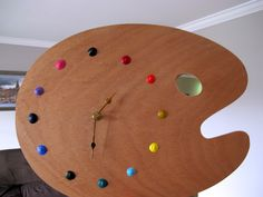 Artist clock pallette - I realy want this Clock Painting, Pallet Painting, Tole Painting, Diy Painting, My Art Studio, Wall Collage, Wall Art, Just In Case, Diy Projects