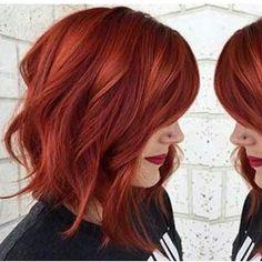 #redwaves #readhead #redhair #wavybob #wow #wowhair #womanlike #redlipstick