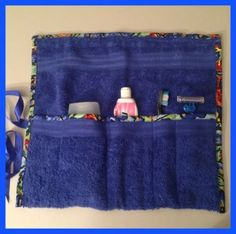 Toiletry Travel Roll, Use a hand towel to make a cool travel roll simply, edge the hand towel with a pretty fabric and sew some lines as separators.Sewing On My Kitchen TableIs this for a chair or recliner? Sewing Hacks, Sewing Tutorials, Sewing Crafts, Sewing Patterns, Sewing Tips, Sewing Ideas, Towel Crafts, Fabric Purses, Sewing Projects For Beginners