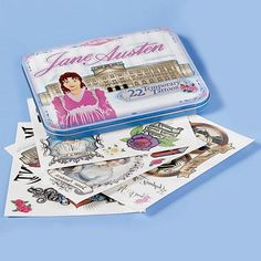 """Not ready to commit? Try """"Jane Austen Temporary Tattoos: Our set of twenty-two Jane Austen Temporary Tattoos includes a dramatic silhouette of the author, portraits of 'bad boys' Wickham and Willoughby, and J-A-N-E knuckle tats. What cool gifts for hard-core fans of Miss Austen!"""" -- I'm dying!"""