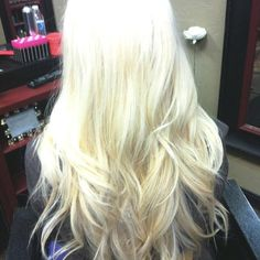 Platinum blonde, wavy curl, long hair