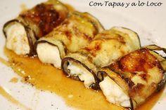 CON TAPAS Y A LO LOCO: Rollitos de berenjena con queso a la miel