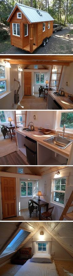 The Siskiyou Colonial Tiny House from the Oregon Cottage Company. A 170 sq ft cabin-style tiny house on wheels. Tiny House Plans, Tiny House On Wheels, Casas Containers, Tiny House Nation, Little Houses, Tiny Houses, Unusual Houses, Micro House, Tiny House Movement