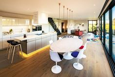 The Kiss House features open-plan living on the ground floor, with a large modern kitchen, wooden. Open Plan Kitchen Dining Living, Open Plan Kitchen Diner, Kitchen Design Open, Open Plan Living, Kitchen Small, Open Kitchen, Kitchen Designs, Country Kitchen, Small Living